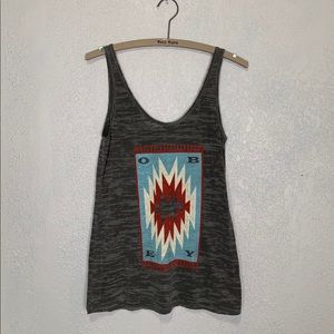Obey gray burnout Aztec/boho print graphic tank